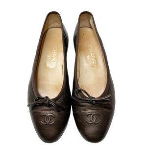 Vintage CHANEL Brown Ballerina Flat